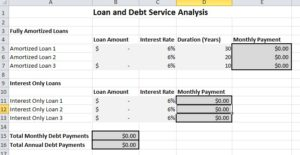 Debt service worksheet