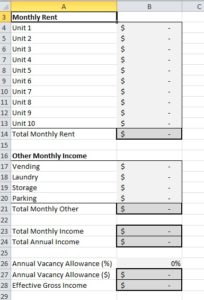 Income worksheet