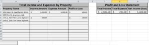 Portfolio Summary tab of P&L spreadsheet