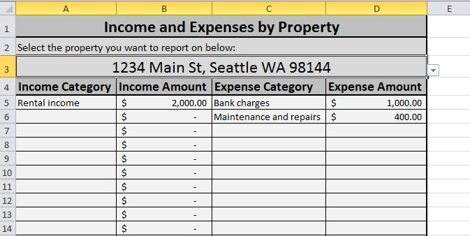 Details section of property report for Rental property P&L spreadsheet