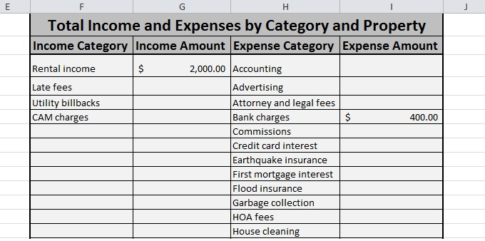 simple income and expenditure form