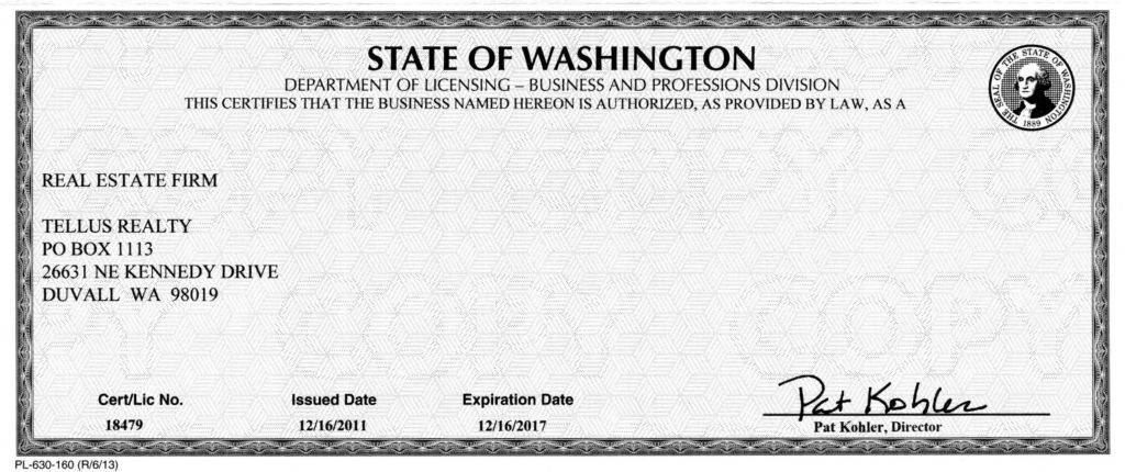 Real estate firm license