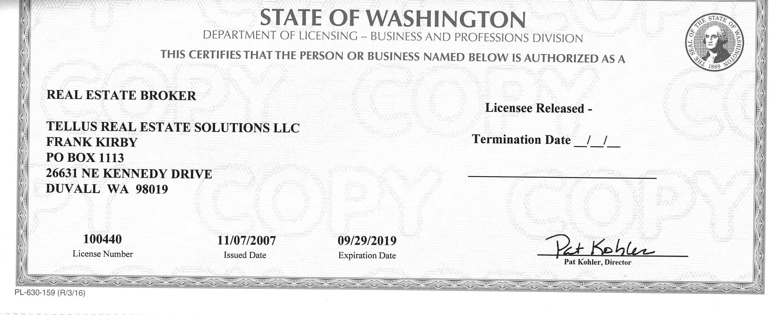 Image of license for Frank Kirby