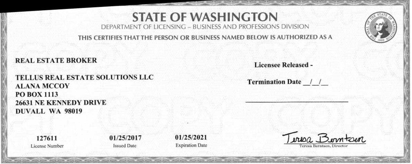 Image of license for Alana McCoy